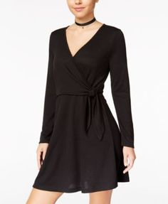 Hippie Rose Juniors' Faux-Wrap Dress - Black Berry XS