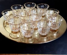 12 SHOT GLASSES Turkish Coffee Glasses Vintage Gold Rimmed Cordials Liqueur Toasting Shots Barware Celebration Wedding Shots by LastTangoVintage on Etsy