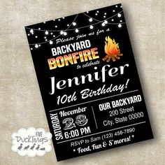 Backyard Bonfire Invitation Birthday party Invite by 5Ducklings