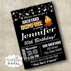 Backyard Bonfire Invitation, Birthday party Invite, Printable Digital Invitation, A140