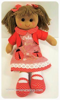 Ragdoll 40 cm Personalised Ladybird Red Dress delivery across Ireland. Rag Dolls, Teddy Bear, Bird, Christmas Ornaments, Toys, Holiday Decor, Lady, Animals, Dresses