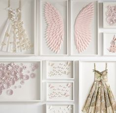 RH Baby & Child's Hand-Folded Paper Butterfly Art:In an original design created just for us, a bevy of butterflies flutters across a white ground, casting delicate shadows with the changing light.