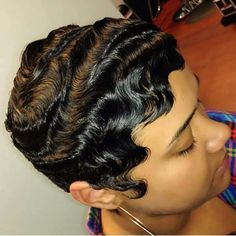 Dry waves, finger waves, short hairstyles - All About Dope Hairstyles, Short Black Hairstyles, Weave Hairstyles, Vintage Hairstyles, Ladies Hairstyles, Permed Hairstyles, Medium Hairstyles, Short Sassy Hair, Short Hair Cuts