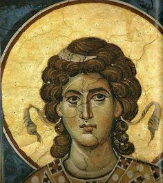 Fresco, Byzantine Art, Byzantine Icons, Religious Icons, Religious Art, Gabriel, Writing Icon, Order Of Angels, Religion Catolica