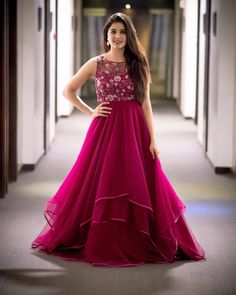indian gowns dresses Buy Deep Pink Color Gown by Akanksha Singh at Fresh Look Fashion Indian Fashion Dresses, Indian Gowns Dresses, Indian Designer Outfits, Designer Gowns, Designer Bridal Lehenga, Designer Anarkali, Pink Gowns, Prom Dresses, Fashion Outfits
