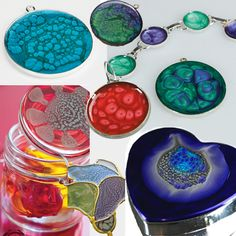 Examples of objects decorated using Pebeo Fantasy Prisme Craft Paint. A Paint the creates a marble effect. Polymer Clay Jewelry, Resin Jewelry, Jewelry Crafts, Fimo Clay, Resin Crafts, Resin Art, Pebeo Paint, Cheap Art, Resin Tutorial