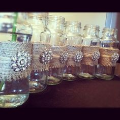 Rustic Glass Vases for Weddings w/ Burlap & by ROOSEFELT on Etsy, $49.99