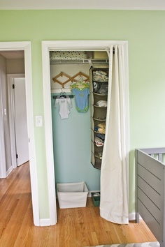 thinking about doing to kids closets - accordion doors are getting beat up idea for bathroom closet- curtain small tension rod