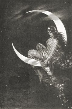 The Muse on the Moon vintage image...