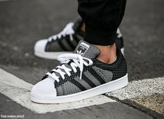 Adidas Originals Superstar Weave black, gray and white sneakers