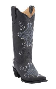 Corral® Circle G™ Ladies Black Crackle w/Blue-Grey & White Fancy Embroidery Snip Toe Western Boots | Cavender's