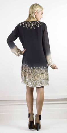 Hand beaded silk dress - perfect for entrance at party hour