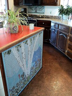 Our penny floor kitchen... made of over 31,140 pennies, all heads up & facing the same direction.