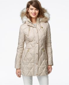 Laundry by Design Faux-Fur-Trim Quilted Puffer Coat - Coats - Women - Macy's