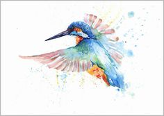 HELEN ROSE Limited Print FLYING KINGFISHER wildlife watercolour painting 245