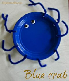 Blue crab, paper plate craft ElaineAnnAllen.com Sea Animal Crafts, Animal Crafts For Kids, Crafts For Kids To Make, Toddler Crafts, Kids Crafts, Art For Kids, Creative Activities, Craft Activities For Kids, Science For Kids