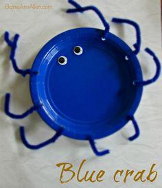 Blue crab, paper plate craft ElaineAnnAllen.com
