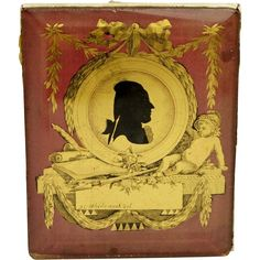 Georgian Miniature Silhouette Portrait of Goethe on Gold Foil Signed 1700's with provenance