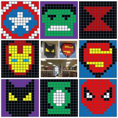 Post-it Note Superheroes, 14 x 14 post-it notes.  Each post-it note is 3 x 3 inches so this template makes a 42 x 42 inch poster.  Awesome for summer reading theme Every Hero Has a Story.  Also great for a decoration for a kids birthday party, classroom or kids room.  Batman, Black Widow, Spiderman, Superman, Green Lantern, Iron Man, Captain American, and the Hulk.  Includes free template!
