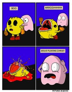 The Dark Reality of Pac Man - Comics from around the Web Funny Pictures Tumblr, Meme Pictures, Tumblr Funny, Best Funny Pictures, Pac Man, You Funny, Funny Jokes, Funny Stuff, Funny Things