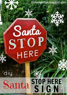 """S"" is for Santa sign tutorial   {if you don't have access to an octagon table top, you or a wood working friend can create one, beveled edges and all}"