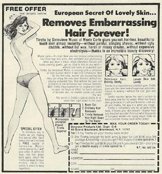 1978 ad: Remove Embarrassing Hair Forever