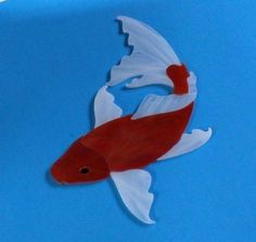 KOI FISH Precut Stained Glass Art Mosaic Inlay. My items are handmade and ready to be used in your mosaic projects. #RachelKratzer