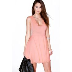 Boohoo Night Vivy Scallop Plunge Skater Dress ($30) ❤ liked on Polyvore featuring dresses, peach, night out dresses, peach dress, maxi dress, maxi party dresses and bodycon dress