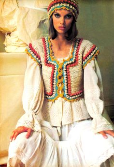 1970s Crocheted Corset Peasant Corselet Vest and Cloche Hat