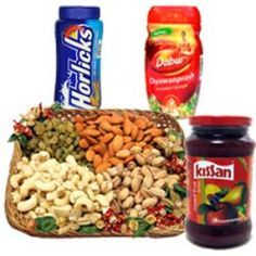 A very exclusive Gift Hamper of 500 gms Mixed Fruit Jam, 1 kg. dry fruits, 500 gms Horlicks, 500 gms Chawanpras- Send this exclusive gift to your loved ones through us.