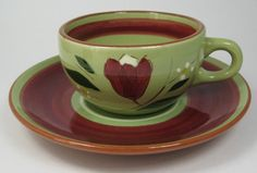 Stangl USA Magnolia Brown Cup And Saucer Retro 1950s Avocado Green And Red Floral