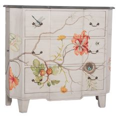 Display a vase of lush blooms or stow board games and DVDs in this artful mahogany chest, showcasing a lovely hand-painted floral motif.   ...