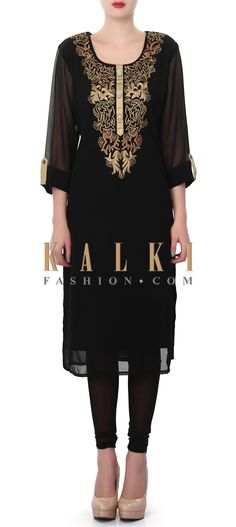 Buy Online from the link below. We ship worldwide (Free Shipping over US$100). Product SKU - 312675. Product Price - $59.00. Product Link - http://www.kalkifashion.com/black-kurti-enhanced-in-zari-embellished-neckline-only-on-kalki.html
