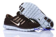 Goedkoop Schoenen Nike Free 5.0 + Heren (kleur:vamp&inside-bruin;logo en zool-wit) Online Winkel.