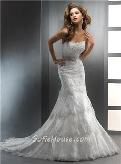 strapless lace trumpet wedding gown | Gorgeous Trumpet/ Mermaid Strapless Tiered Beaded Lace Wedding Dress ...