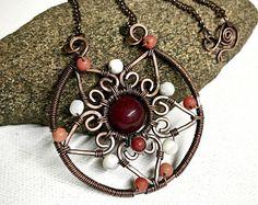 Copper Wire Wrapped Mandala Pendant