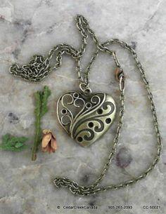 Filigree Antique Bronze Heart Pendant                                   CC-50021