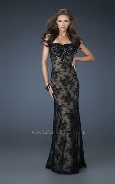Black lace long dress  www.lafemmefashion.com