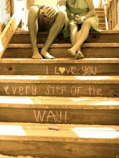 I love this idea. It would be very cute to have the couple do a photo shoot where they are on several different steps(imitating different stages/times in life/the relationship) Cute Photos, Cute Pictures, Engagement Photography, Wedding Photography, Photography Ideas, Couple Photography, All You Need Is Love, My Love, Foto Fantasy