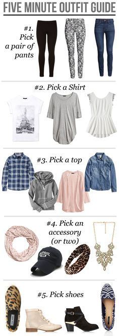 If you're in a rush, this outfit guide will have you looking trendy in less than five minutes!