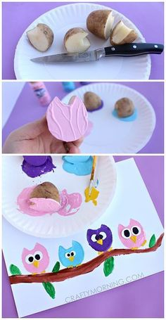 Potato Print Owl Craft for Kids - Crafty Morning