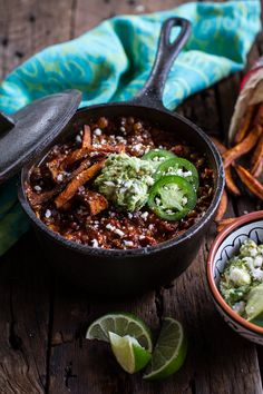 Spicy Black Bean and Lentil Chili with Cotija Guacamole + Chipotle Sweet Potato Fries