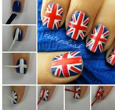 English flag nail tutorial