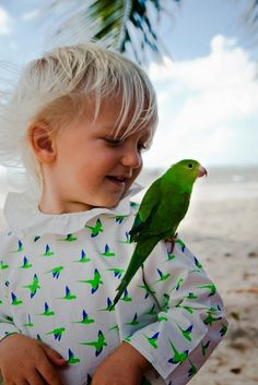 Pierrot collar and parrot print by Waddler SS14