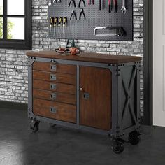 This sturdy, industrial-style inspired rolling workbench is the ideal blend of rugged powder-coat steel with a solid wood-top. A rich hand-applied finish sets off this workbench, offers handsome practicality to your work shop, garage or any creative work Garage Tools, Garage Shop, Garage Workshop, Garage Ideas, Vintage Industrial Furniture, Metal Furniture, Furniture Design, Industrial Shop, Industrial Windows