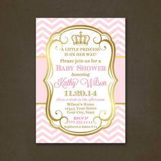 Pink gold princess baby shower invitation pink and gold baby princess baby shower invitation baby shower invitation for a girl pink chevron pink and gold elegant crown invitation printable file filmwisefo
