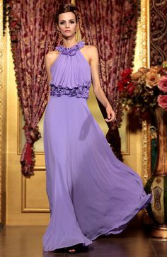Corsage A-line High Neck Floor-length Formal Dress - Quick Delivery Dresses - OuterInner.com