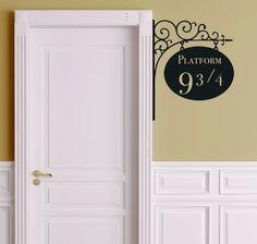 "Platform 9 3/4 Version 2 Harry Potter Door Decor - Wall Decal Vinyl Sticker W21 12""x15"" (Black)"
