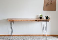 Dutch Elm Slab Desk with Hairpin Legs by TheCollectiveMan on Etsy, $750.00