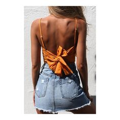 Yoins Square Neck Knot at Back Cami Top in Orange (16 AUD) ❤ liked on Polyvore featuring tops, brown tank, sexy tank tops, square neck tank top, orange tank and sleeveless tank tops